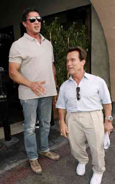 Everyone knows that Sylvester is taller than Arnold.  It's a FACT!!  And here is my proof!!
